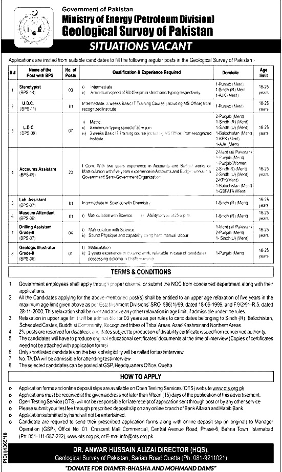 Ministry of Energy Petroleum Division OTS jobs 2018 Apply Online