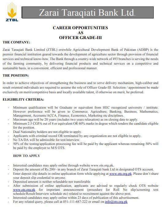 Zarai Taraqiati Bank Limited OTS jobs 2019 Apply Online