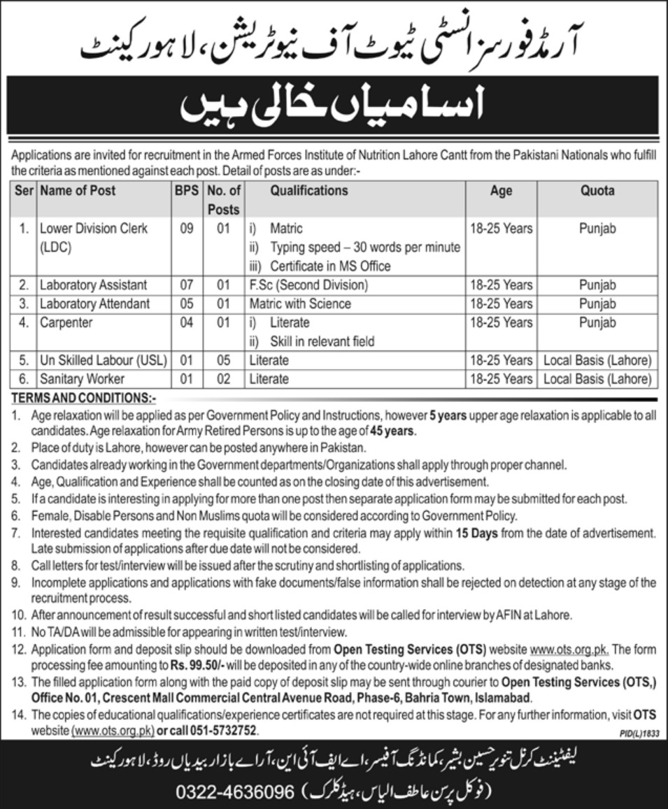 Armed Force Institute of Nutrition OTS Jobs 2019 Online Application Form