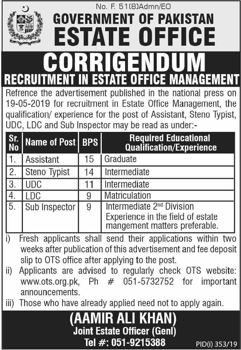 Estate Office Management OTS jobs 2019 Roll No Slip Download Online By Name & CNIC