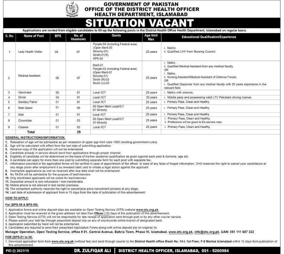 Health Department Islamabad OTS Jobs 2019 Application Form