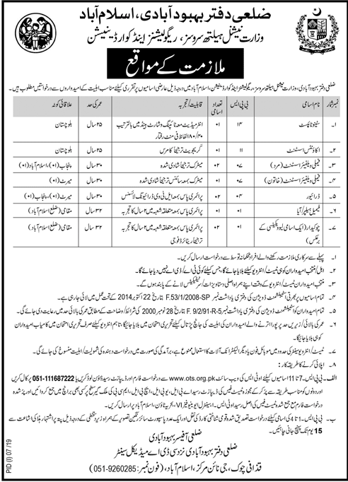District Population Welfare Office Islamabad Jobs 2019 Application Form Eligibility Criteria