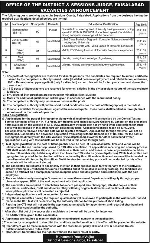District & Sessions Judge Jobs 2019 Application Form Roll No Slip