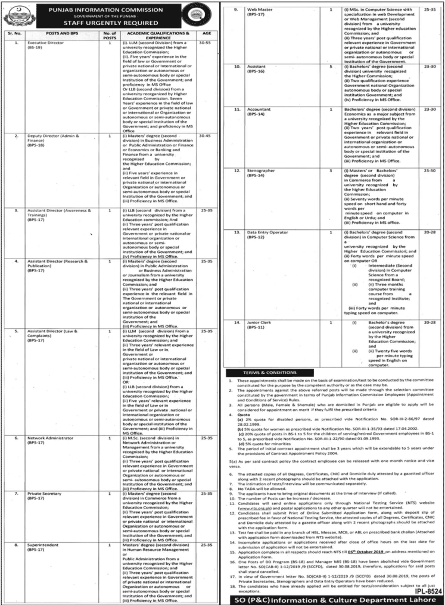 Punjab Information Commission Jobs 2019 NTS Application Form Download