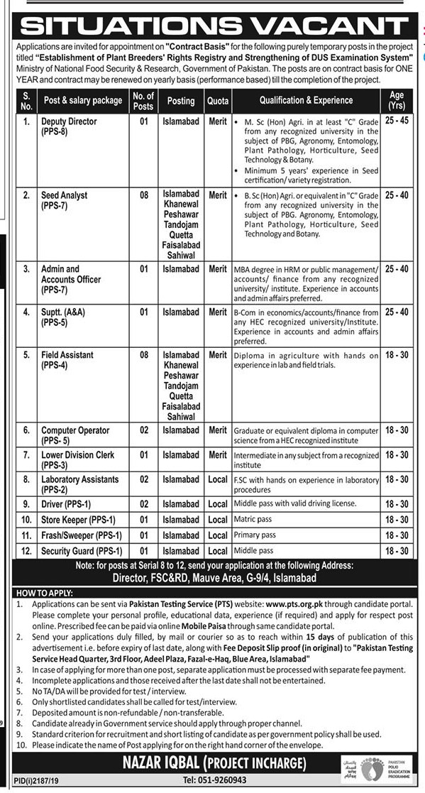 Ministry of Food Security & Research PTS Jobs 2019 Application Form Roll No Slip download online