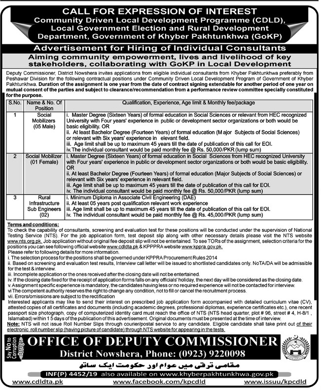 Deputy Commissioner Office Nowshera NTS Jobs 2019 Application Form Roll No Slip download online