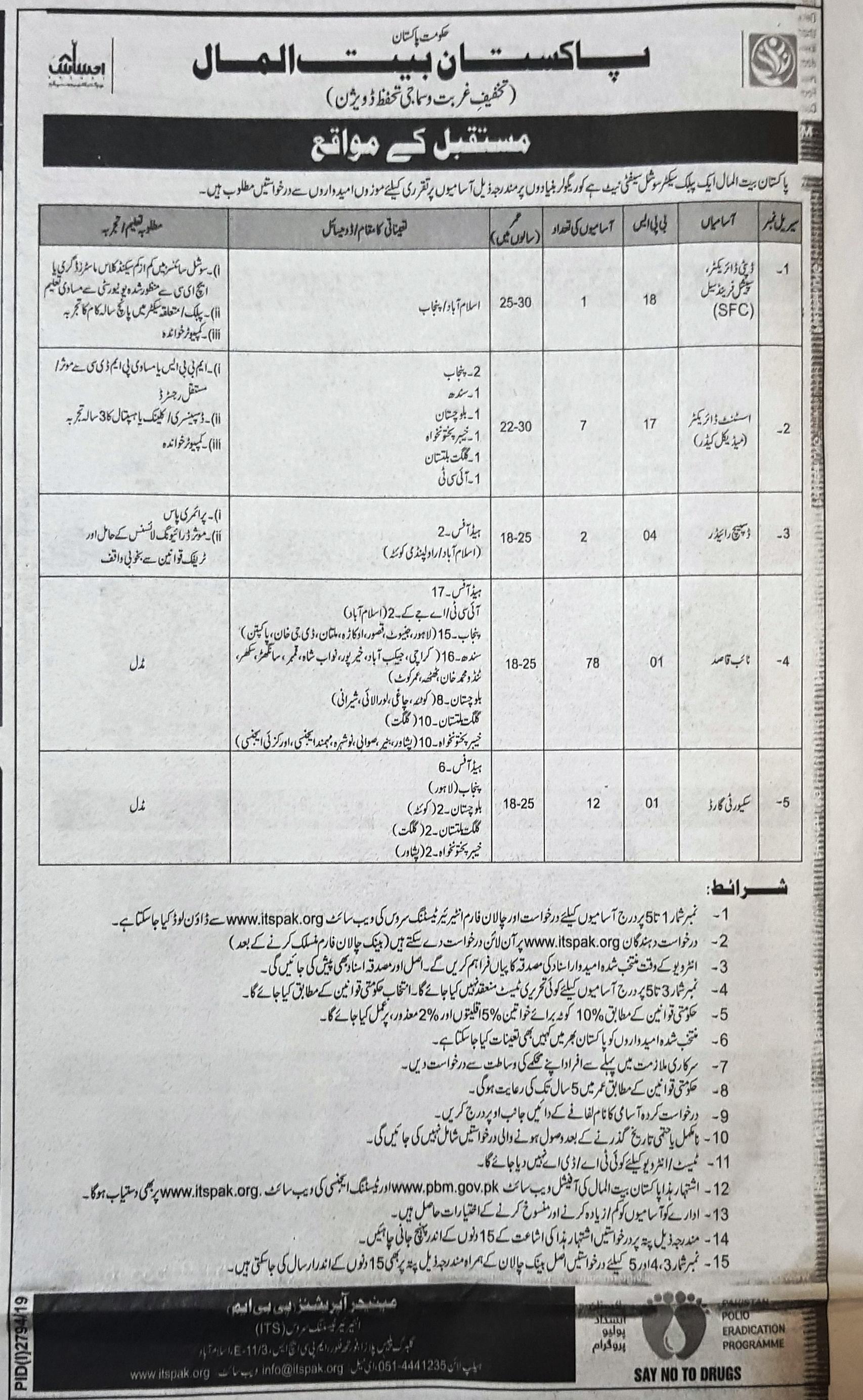 Pakistan Bait ul Mal Jobs 2019 ITS Application Form Roll No Slip download online