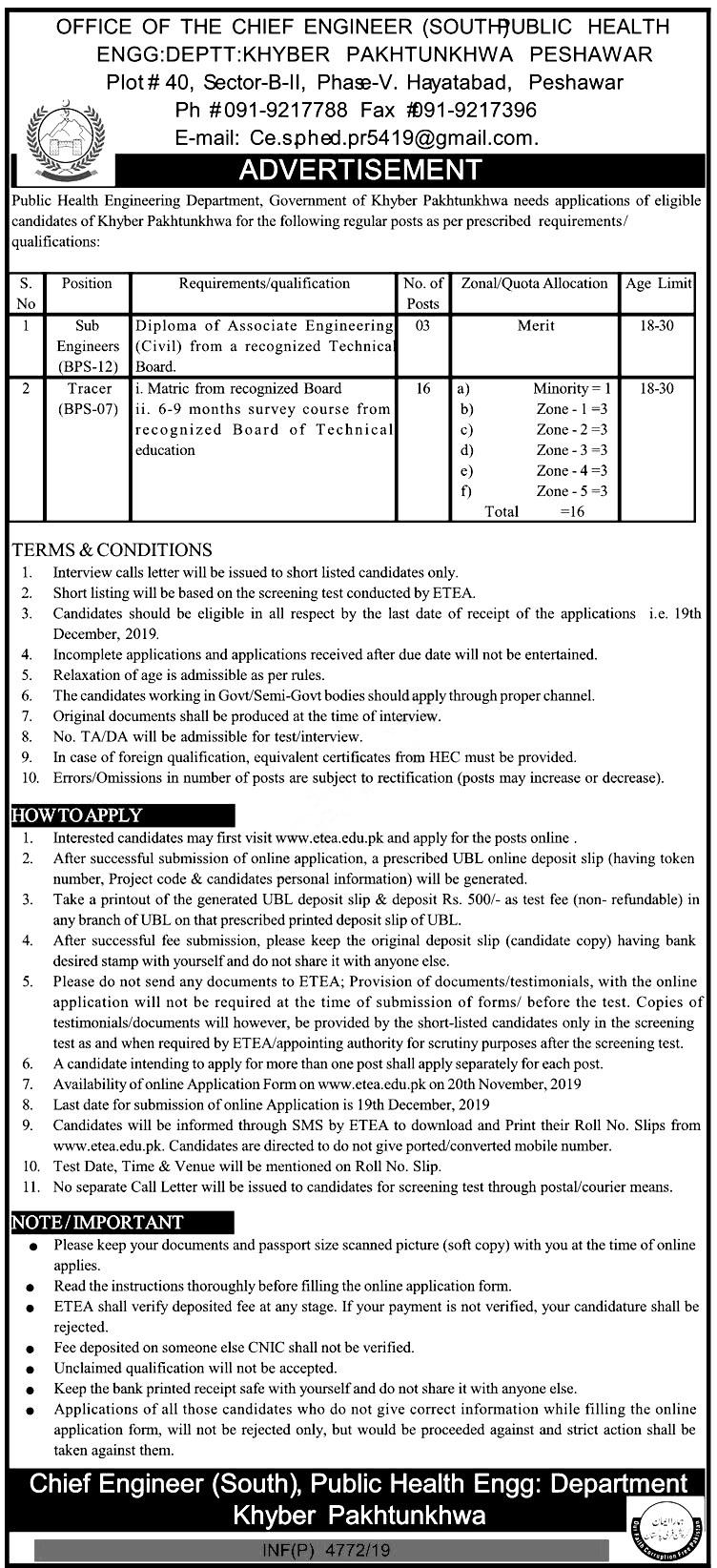Public Health Engineering Department Jobs 2019 ETEA Application Form Roll