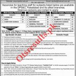 Divisional Public School & College Faisalabad PTS Jobs 2020 Application Form