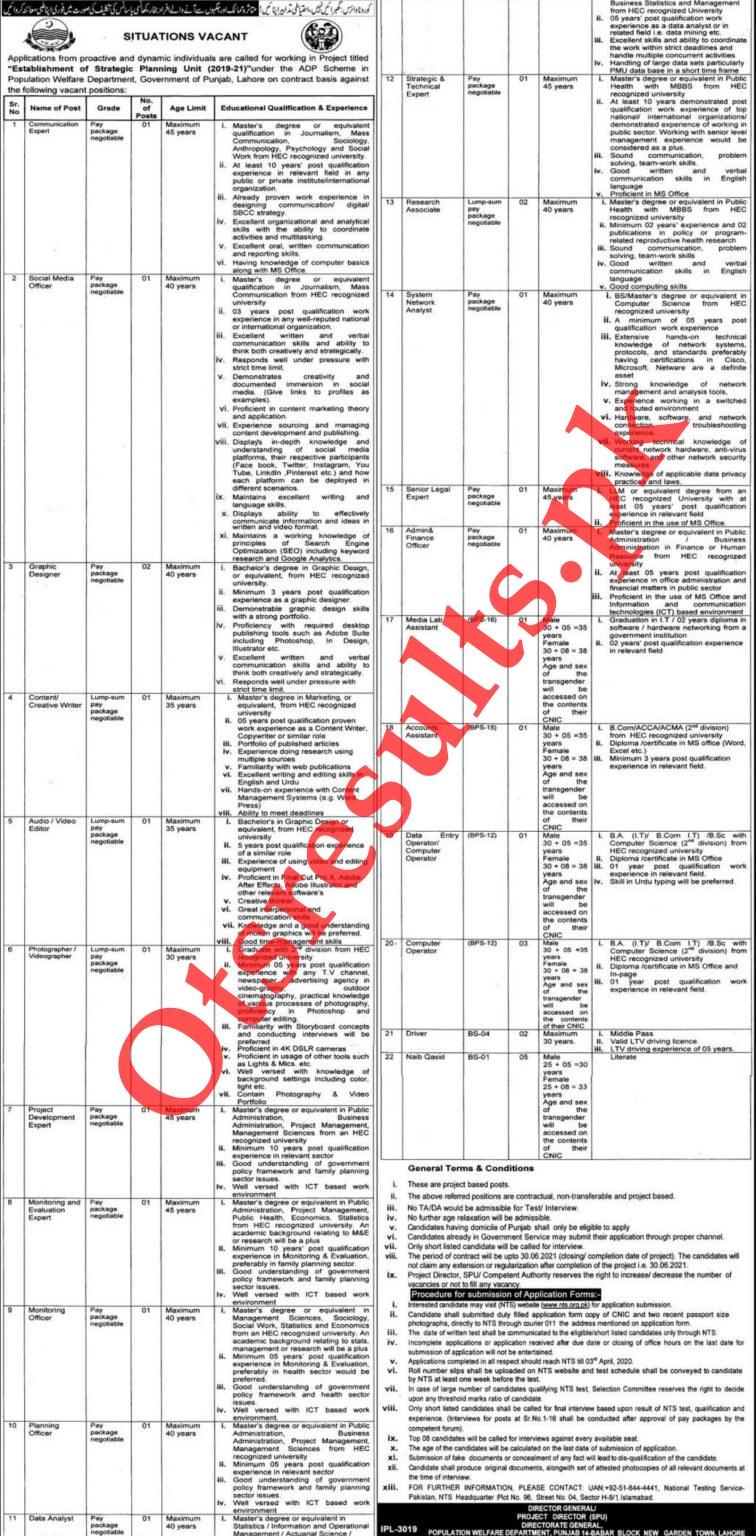 Punjab Population Welfare Department Jobs 2021 NTS Roll No Slip