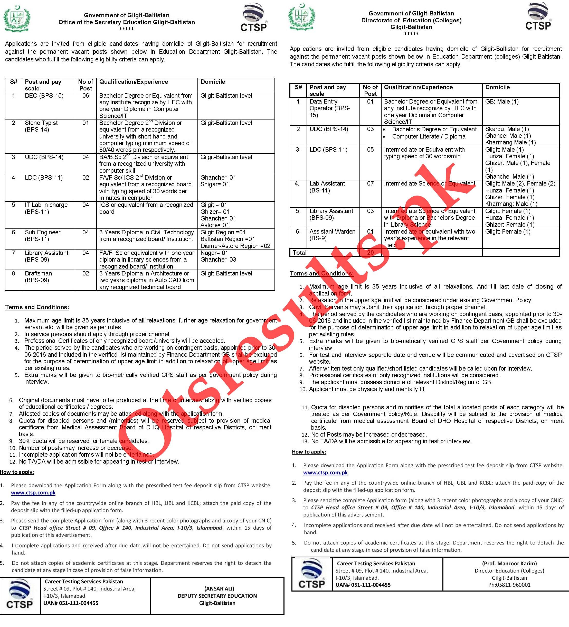 Education Department Colleges Gilgit Baltistan 2021 CTSP Roll No Slip