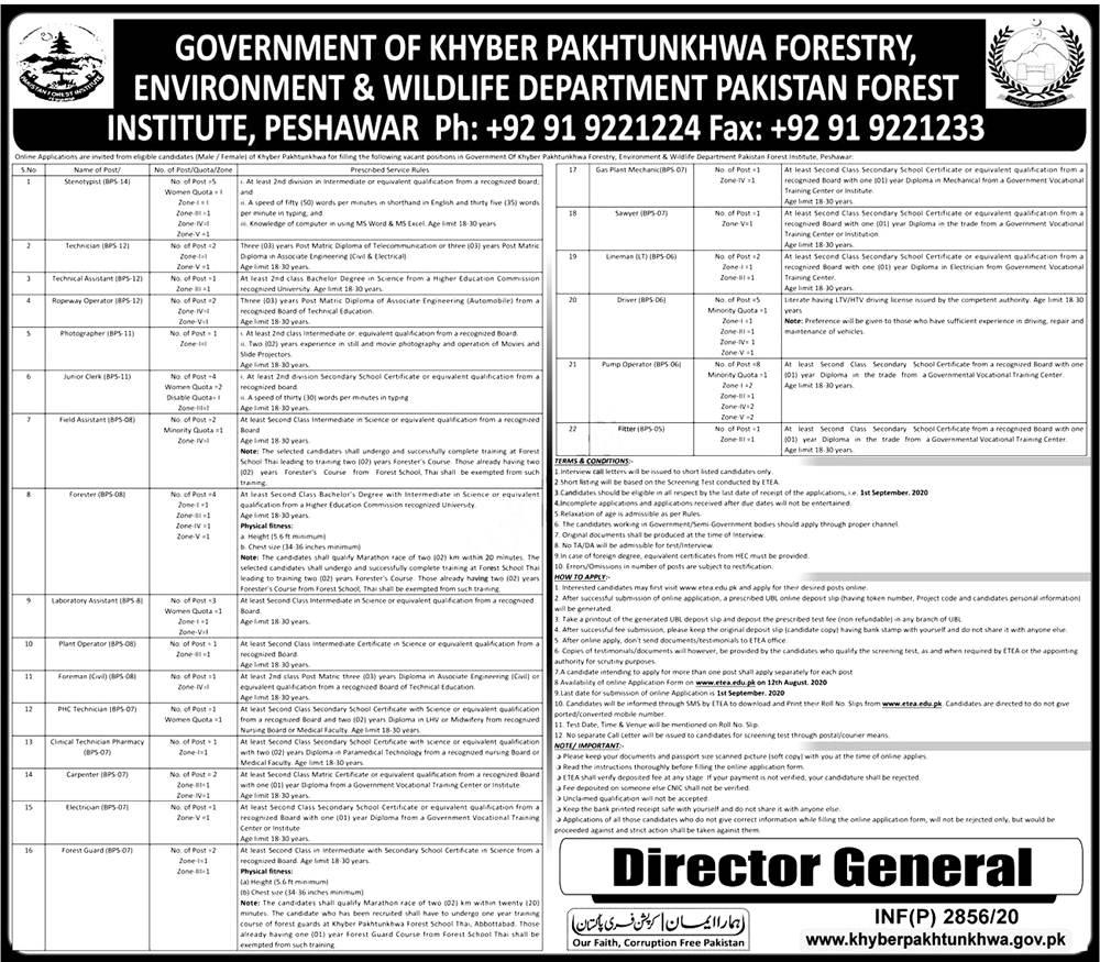 ETEA Forestry Environment & Wildlife Department KPK Jobs 2021 Apply Online Roll No Slip Eligibility Criteria