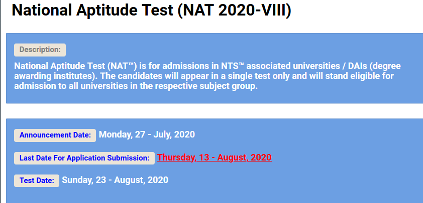 NAT National Aptitude Test VIII 2021 NTS Apply Online Roll No Slip