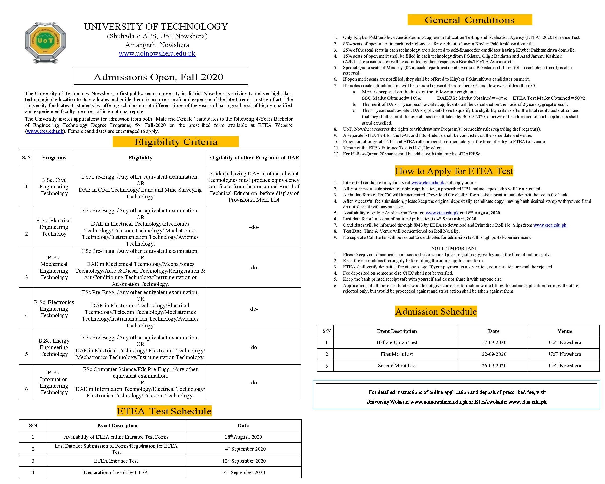 UOT University of Technology Nowshera Admission 2021 ETEA Apply online Roll No Slip