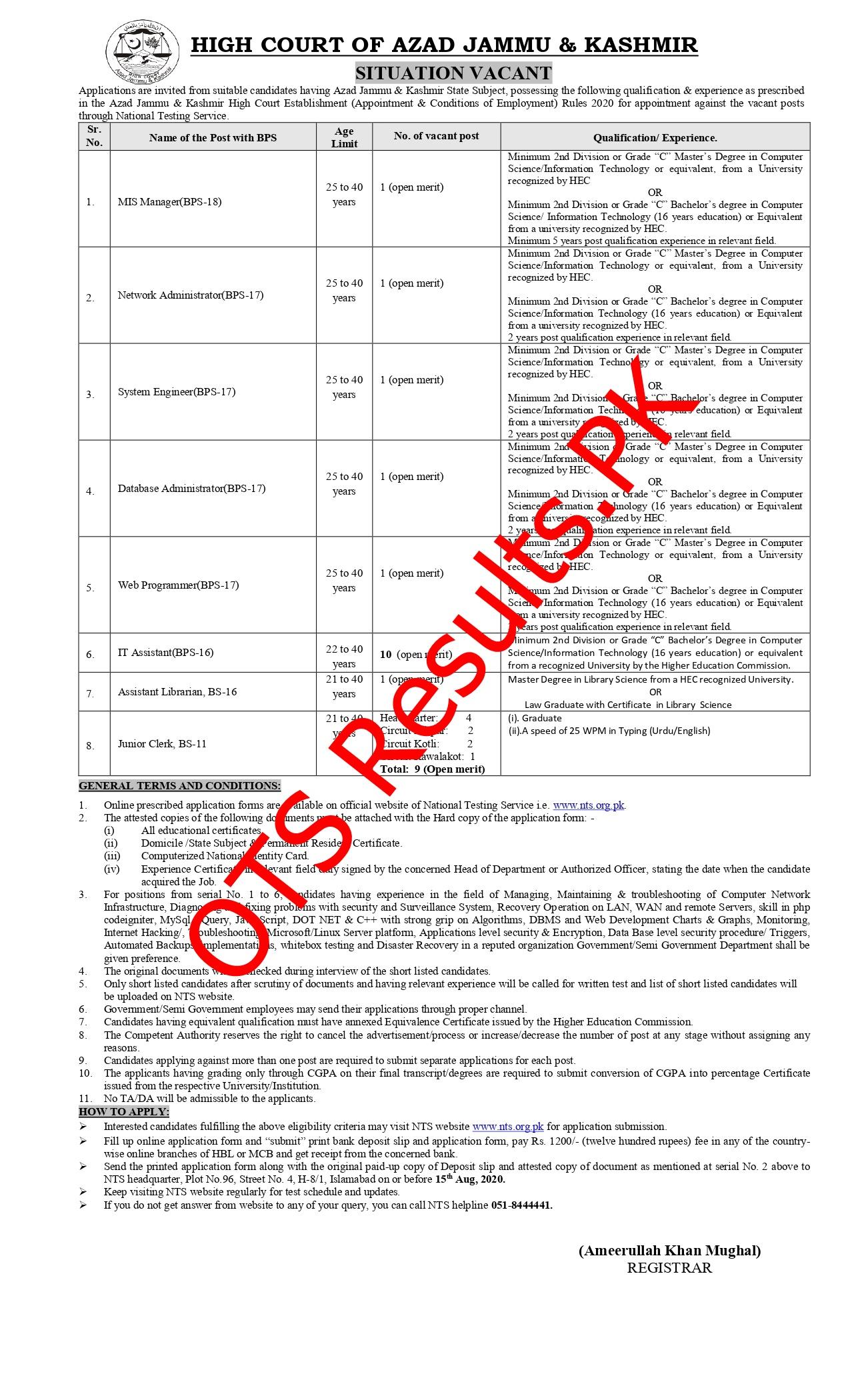 Azad Jammu & Kashmir AJK High Court NTS Jobs 2021 Apply online