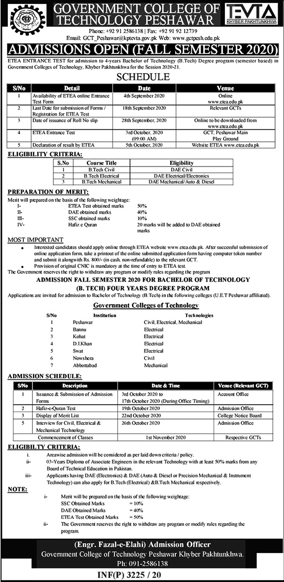 Government College of Technology Peshawar Admission 2021 ETEA Roll No Slip