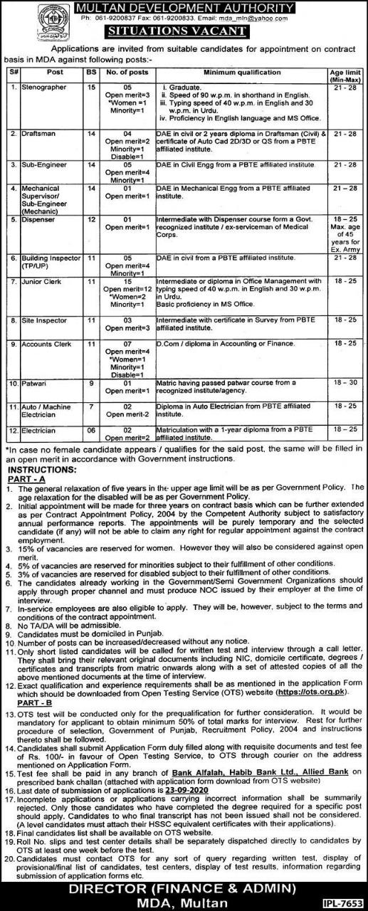 MDA Multan Development Authority Jobs 2021 OTS Application Form Download Online