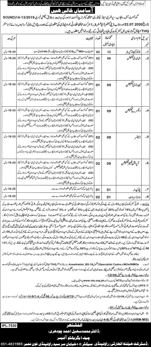 NTS THQ Hospital Gujar Khan Jobs 2021 Application Form Download online