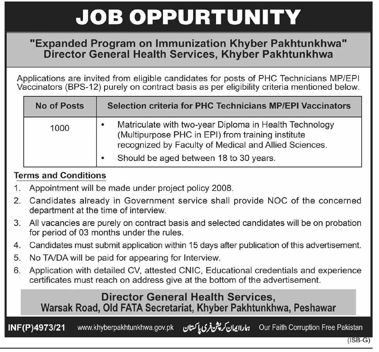 KPK Health Department Jobs 2021 Apply Online PHC Technicians Vaccinators
